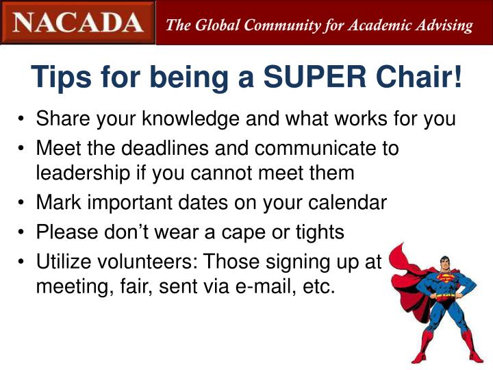 Tips for being a SUPER Chair!