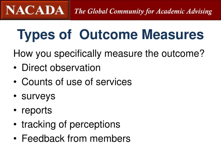 Types of  Outcome Measures