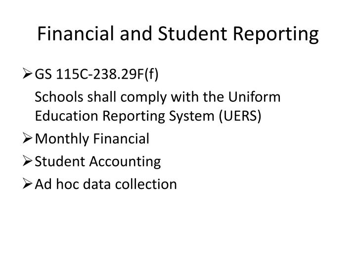 financial and student reporting n.
