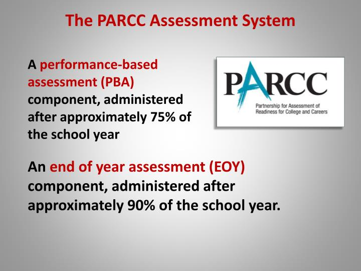 A performance based assessment pba component administered after approximately 75 of the school year