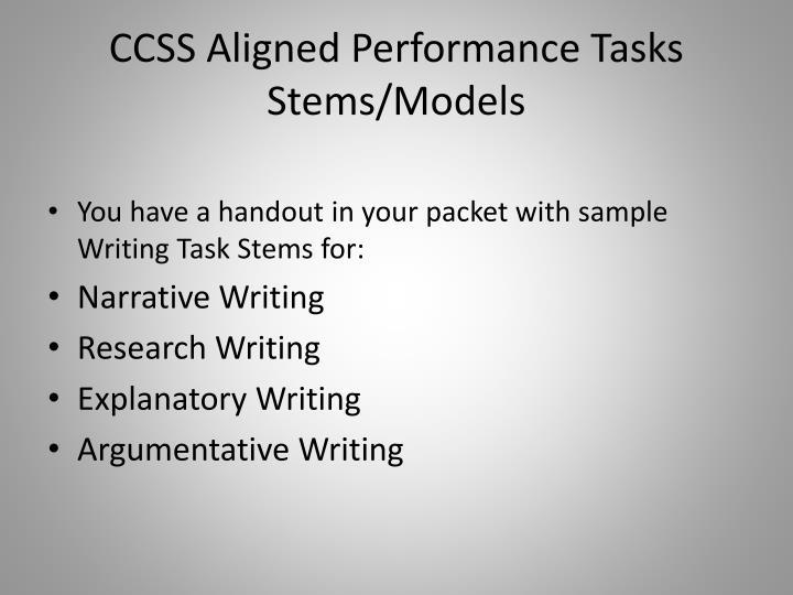 CCSS Aligned Performance Tasks Stems/Models