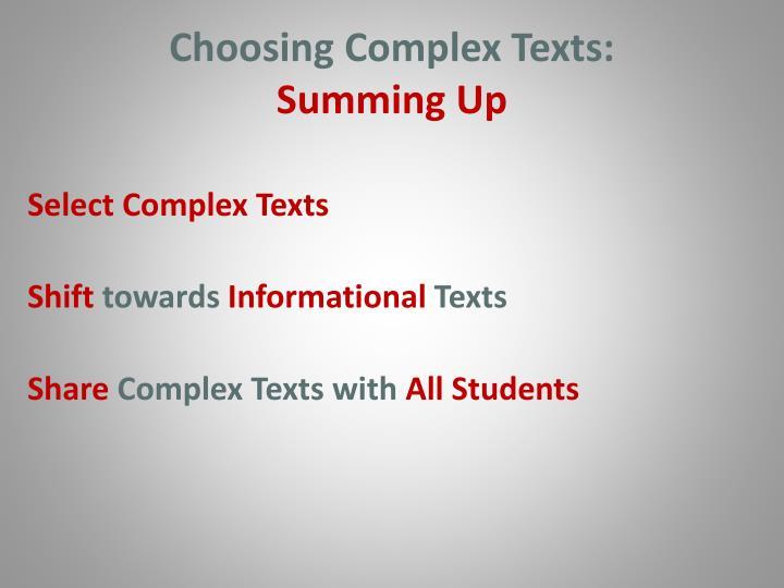 Choosing Complex Texts: