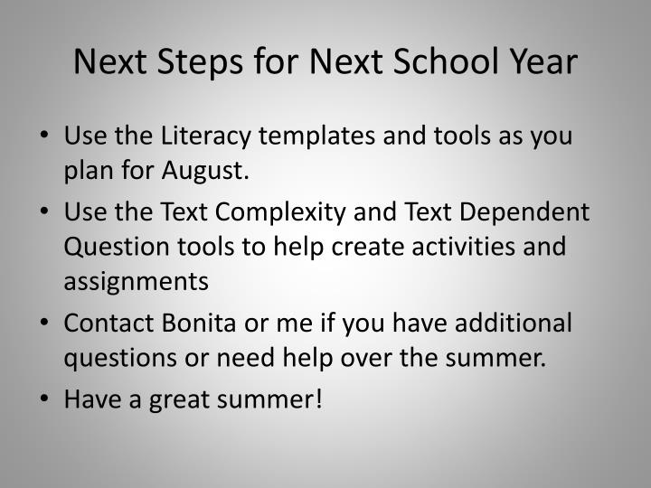 Next Steps for Next School Year
