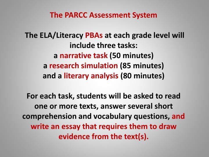 The PARCC Assessment System