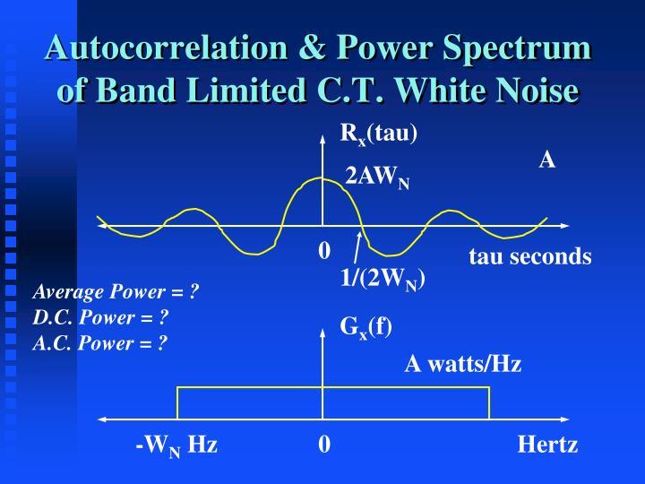 Autocorrelation & Power Spectrum of Band Limited C.T. White Noise