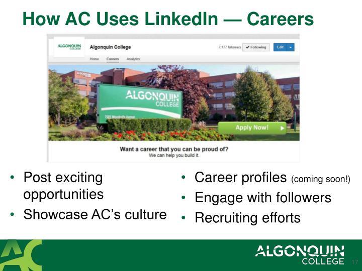 How AC Uses LinkedIn — Careers