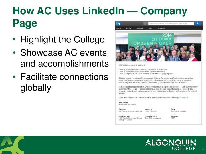 How AC Uses LinkedIn — Company Page