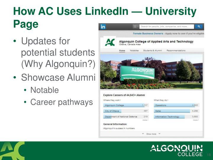 How AC Uses LinkedIn — University Page