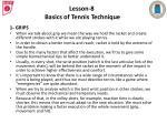 lesson 8 basics of tennis technique