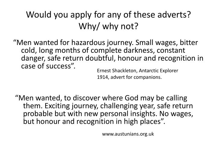 would you apply for any of these adverts why why not n.
