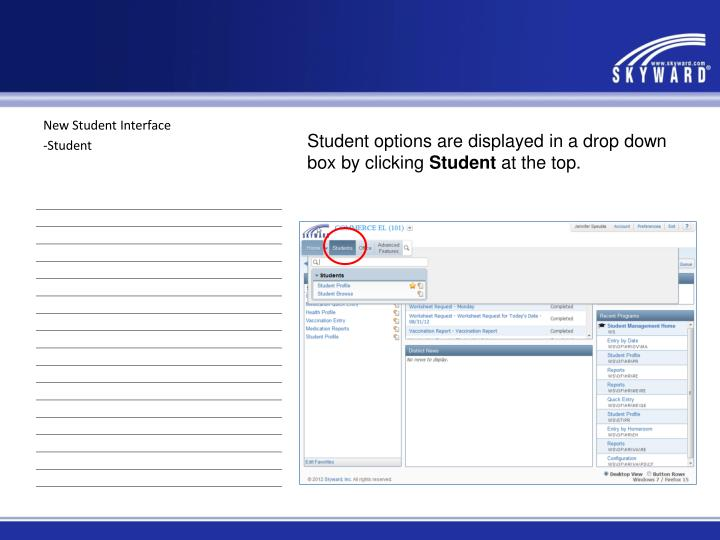 New Student Interface