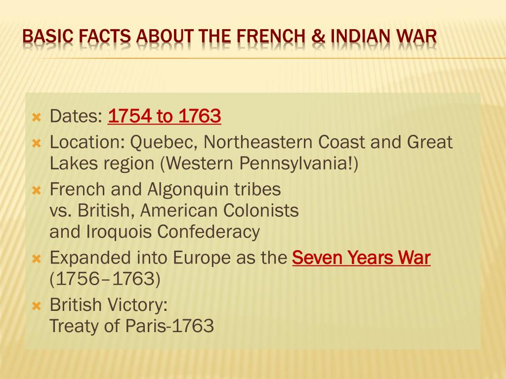 PPT - French and Indian War: 1754 - 1763 PowerPoint