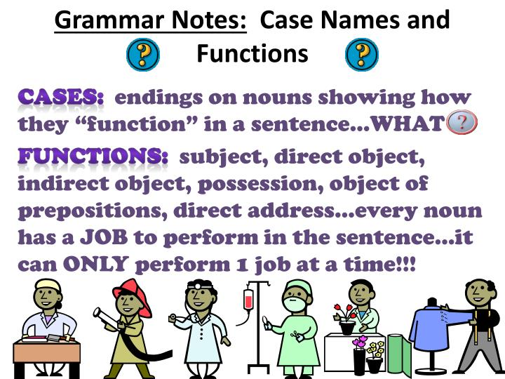 grammar notes case names and functions n.