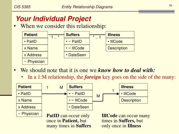 CIS 5365                            Entity Relationship Diagrams