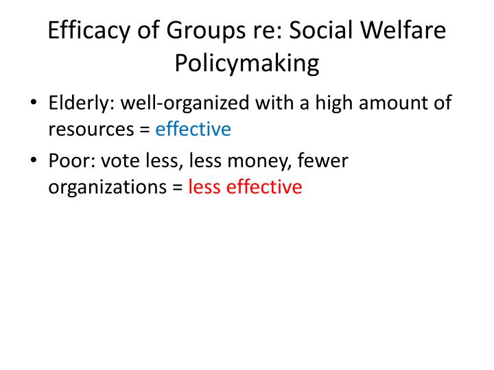 Efficacy of Groups re: Social Welfare Policymaking