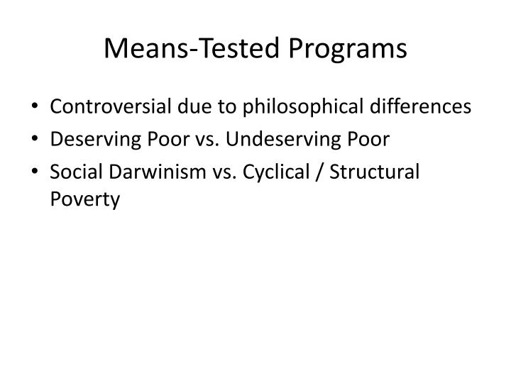 Means tested programs
