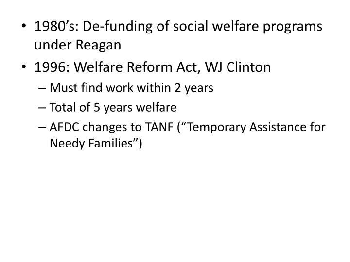 1980's: De-funding of social welfare programs under Reagan