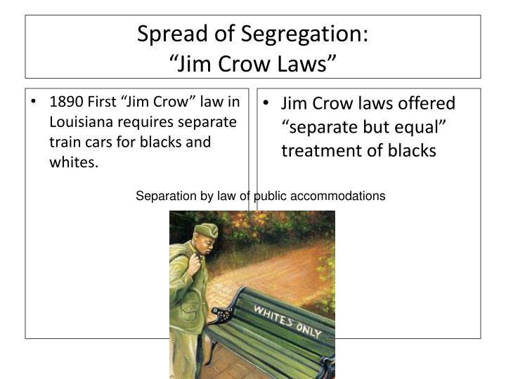 "1890 First ""Jim Crow"" law in Louisiana requires separate train cars for blacks and whites."