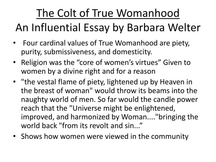 The cult of true womanhood essay