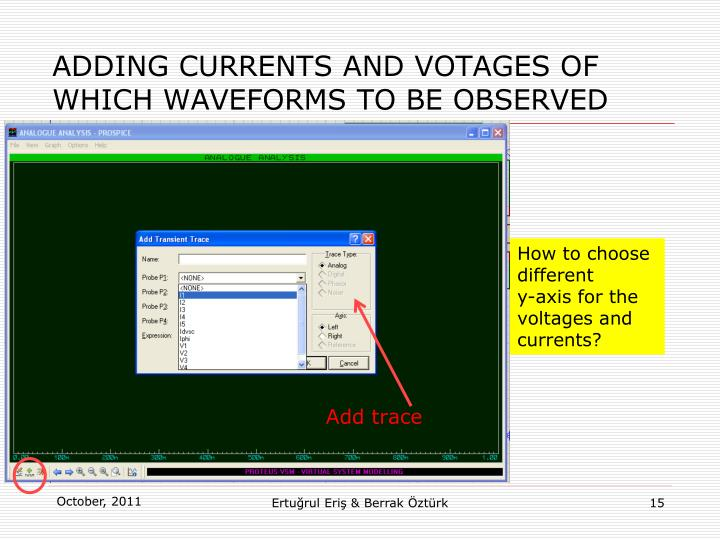 ADDING CURRENTS AND VOTAGES OF WHICH WAVEFORMS TO BE OBSERVED