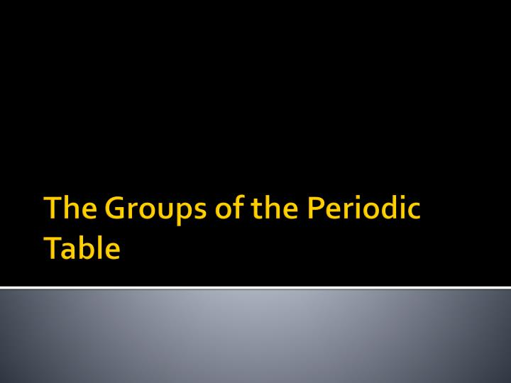 the groups of the periodic table n.