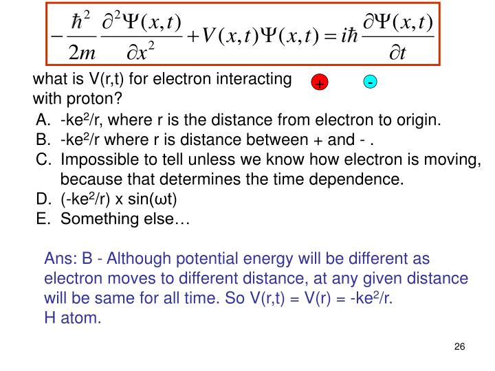 what is V(r,t) for electron interacting