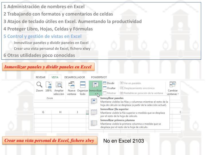 Inmovilizar paneles y dividir paneles en Excel