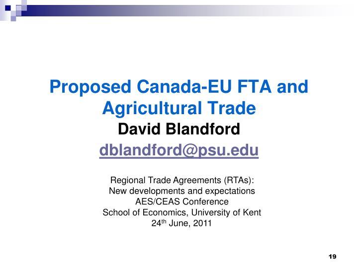 Proposed Canada-EU FTA and Agricultural Trade