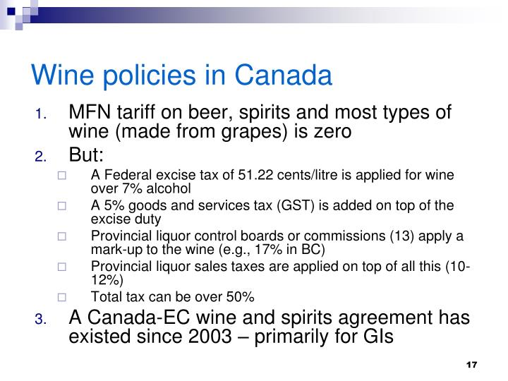 Wine policies in Canada