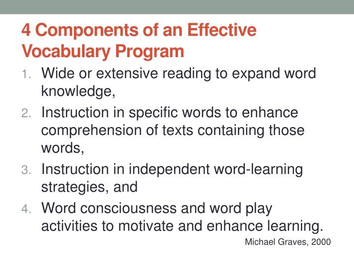 4 Components of an Effective Vocabulary Program