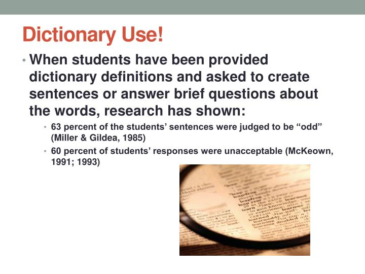Dictionary Use!