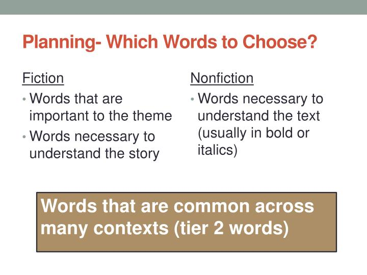 Planning- Which Words to Choose?