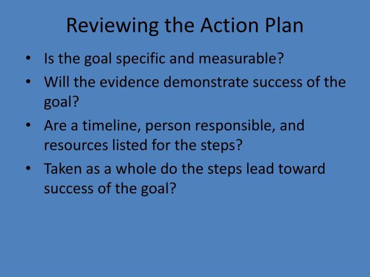 Reviewing the Action Plan