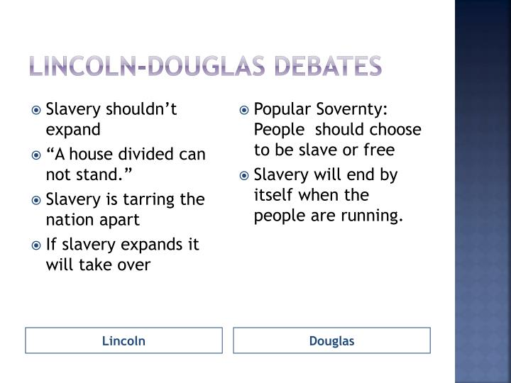 lincoln douglas debates slavery essay Stephen douglas lincoln-douglas debate undecided the lincoln-douglas debates between him and douglas the issue was whether slavery would.