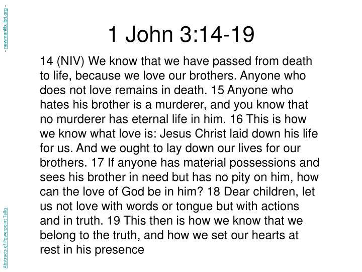 1 John 3:14-19