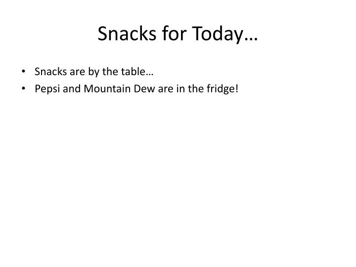 Snacks for Today…