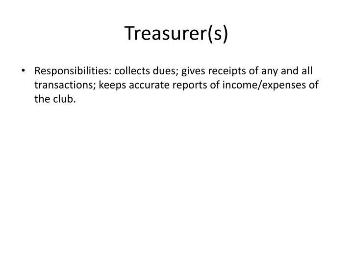 Treasurer(s)