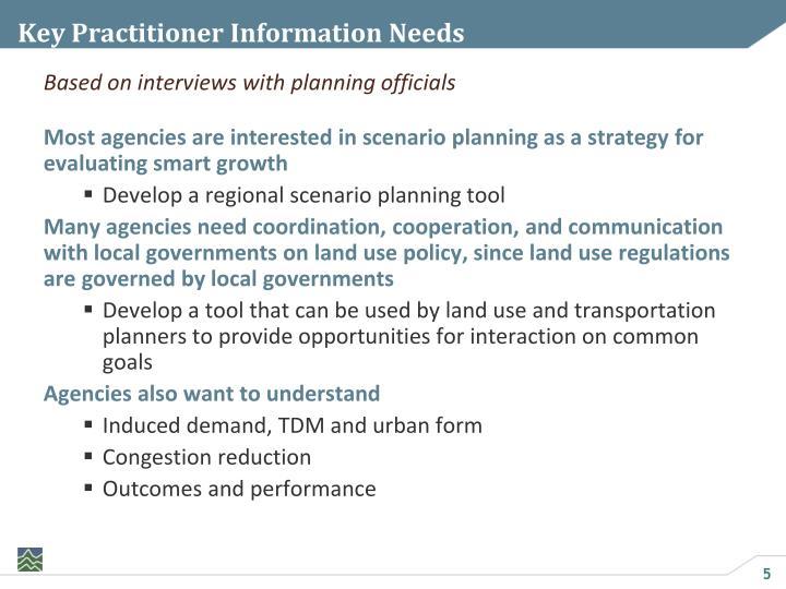 Key Practitioner Information Needs