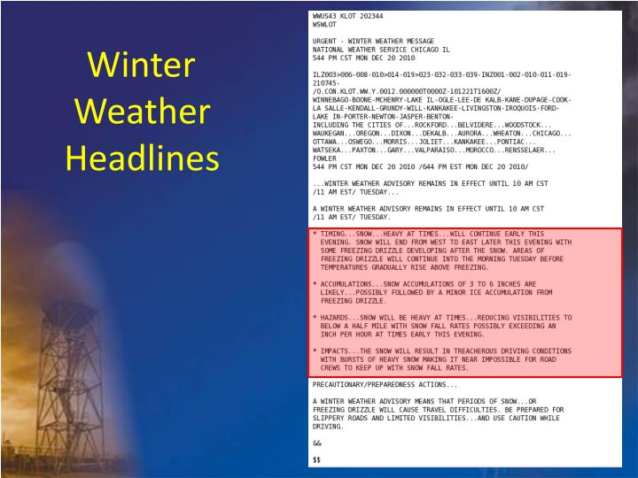 Winter Weather Headlines