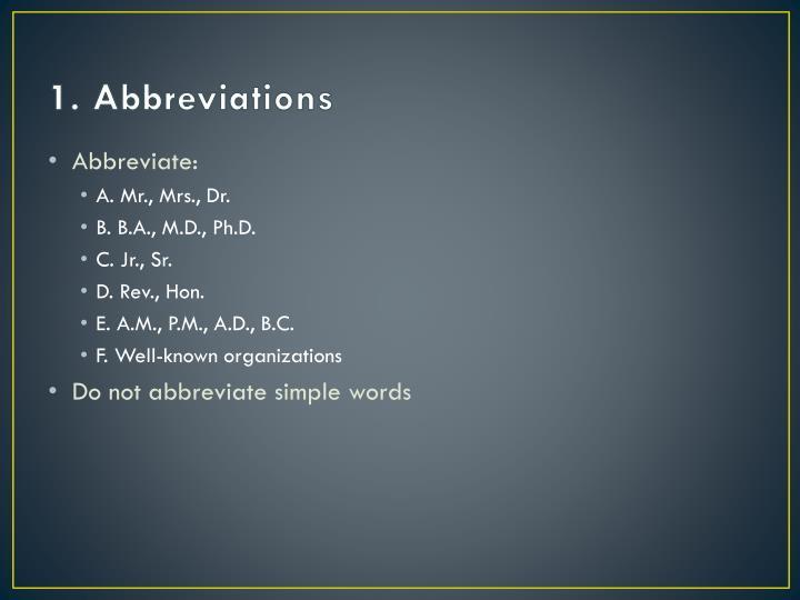 1 abbreviations