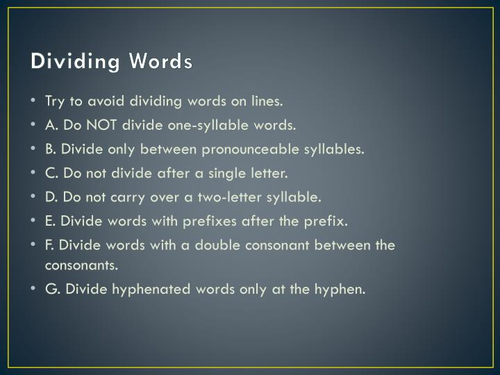 Dividing Words