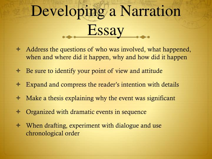developing a narrative essay Narrative essays are truly works of art, and good artists must practice their craft here is a list of 101 narrative essay topics, prompts, and short story ideas to give students the practice that they need to become better writers.
