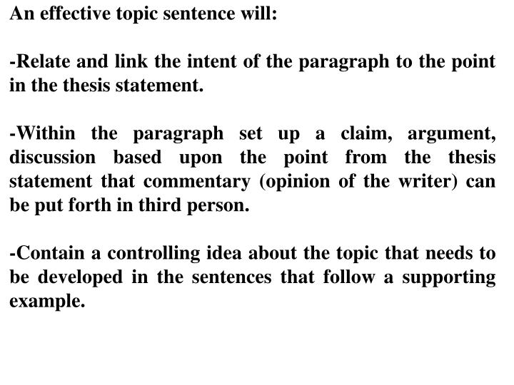 What are the functions of a topic sentence?