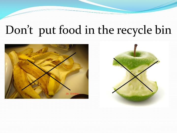 Don't  put food in the recycle bin