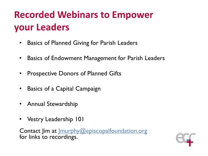 Basics of Planned Giving for Parish Leaders