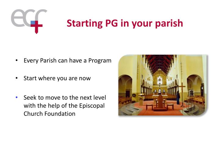 Starting PG in your parish