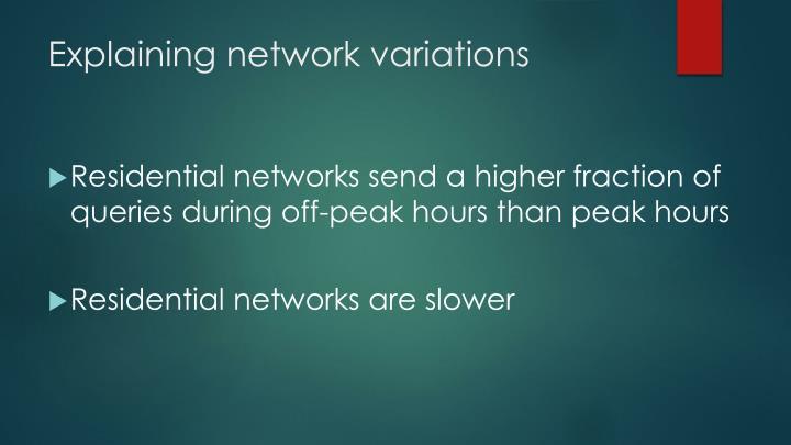 Explaining network variations