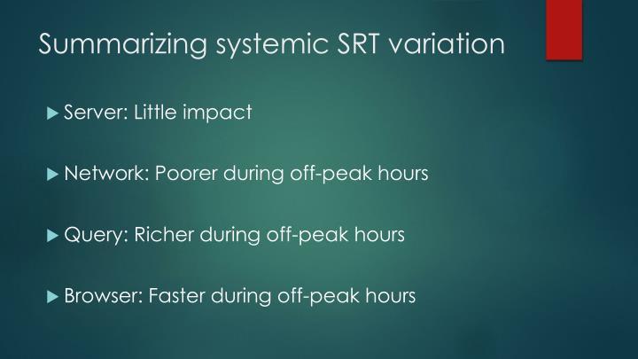 Summarizing systemic SRT variation