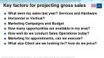 key factors for projecting gross sales
