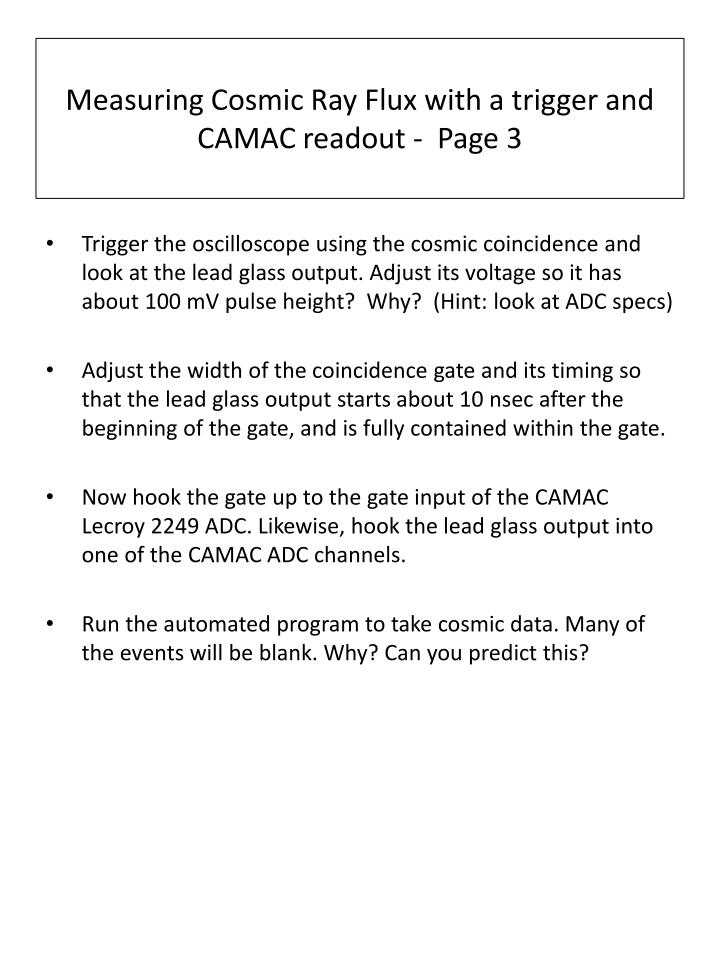 Measuring cosmic ray flux with a trigger and camac readout page 3